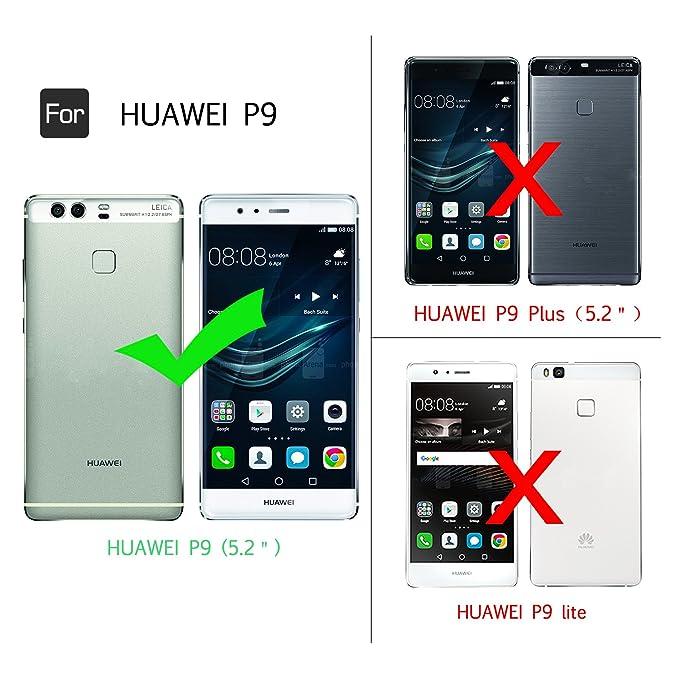 LeYi Funda Huawei P9 con Anillo Soporte, 360 Grados Giratorio Ring Grip con Kickstand Gel TPU de Silicona Bumper Case Carcasa Fundas Huawei P9 con HD ...