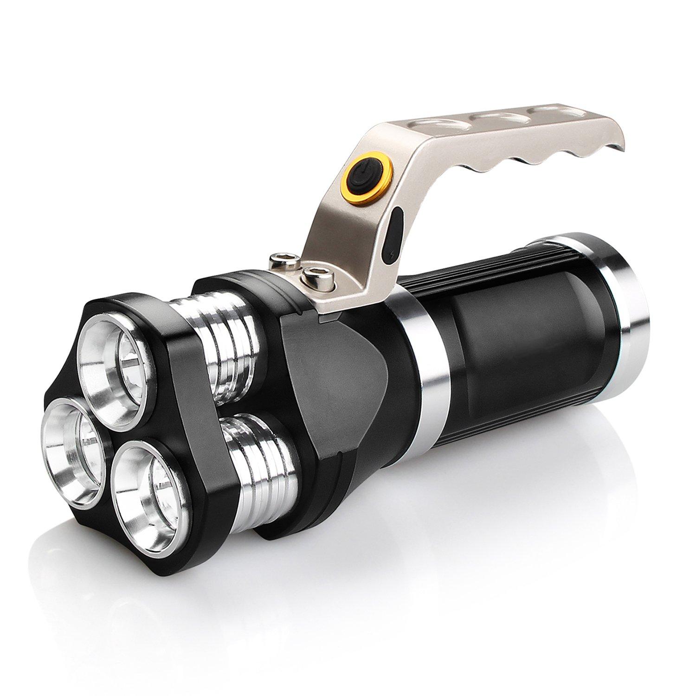 2400lm Wasserdichte CREE Akku LEDs Handscheinwerfer wiederaufladbareTaschenlampe,Cynthia Taschenlampe mit Lötlampe, Handscheinwerfer mit 3 Lichtmodi,IP65 Spritzwassergeschützt, Batterieladegerät einbezogen(Schwarz)