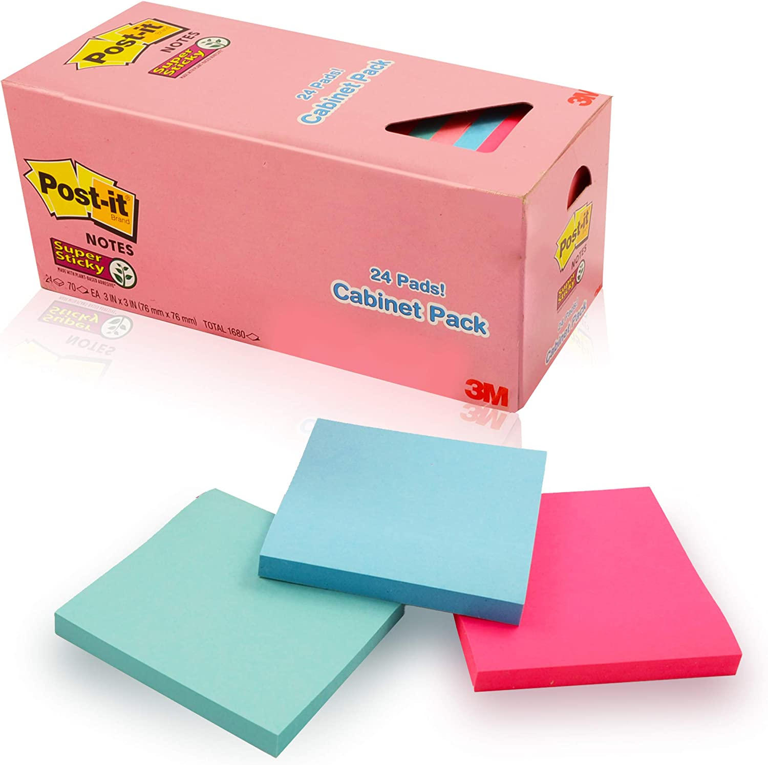 Sticky Notes Cabinet Pack Pastel Colors ~ 24 Pack 3x3 Self-Stick Pads in Colorful Blue, Teal, Pink, and Magenta (Office Supplies | Office Essentials)