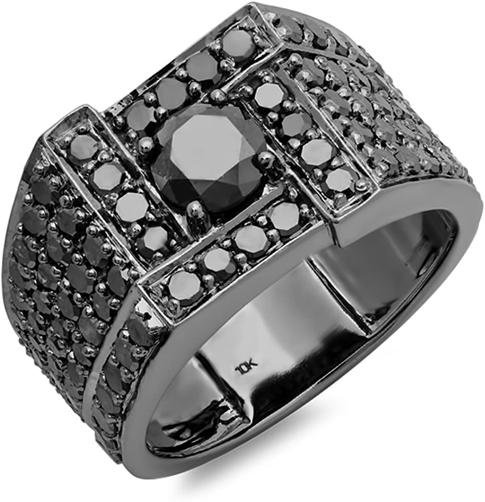 Dazzlingrock Collection 4.50 Carat (ctw) 10K Round Cut Black Diamond Mens Ring, White Gold