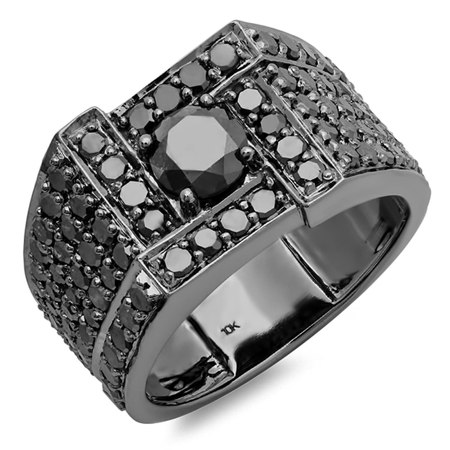 4 50 carat ctw 10k white gold round cut black diamond mens ring