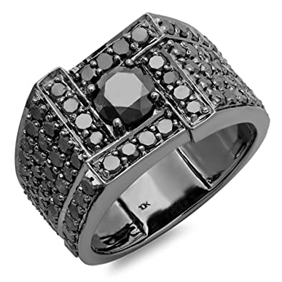 4.50 Carat (ctw) 10K White Gold Round Cut Black Diamond Mens Ring (Size