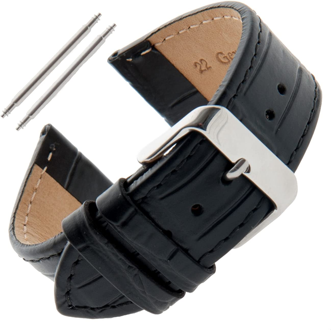 Gilden Unisex 16-30mm Gator-Grain Flat Stitched Leather Watch Strap F30
