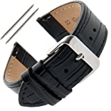 Gilden Unisex 16-30mm Gator-Grain Flat Stitched Leather Watch Strap F30