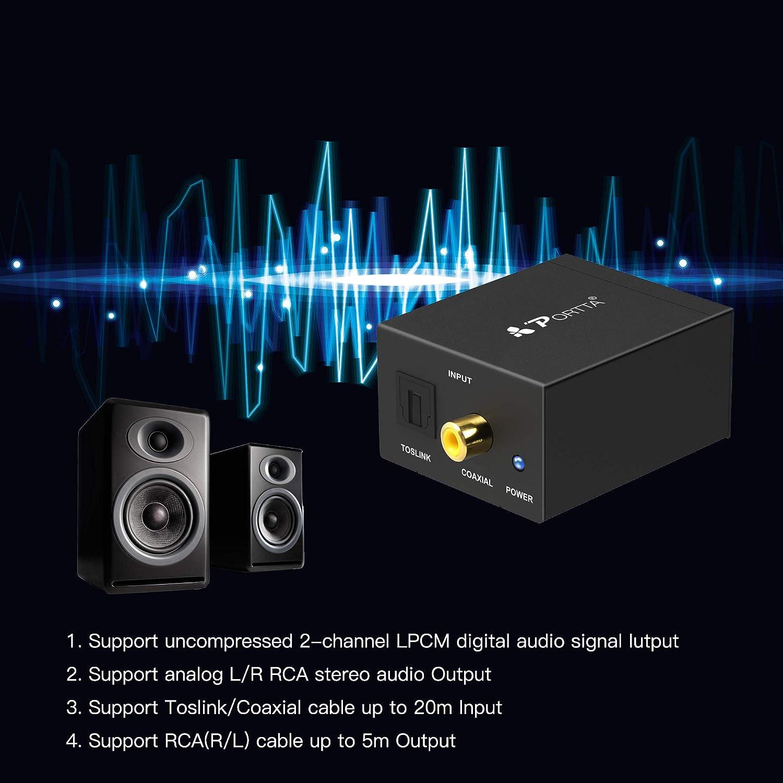 Portta n3CDtap toslink coaxial Digital a analógico (L/R) convertidor de Audio Convertidor de Audio Negro: Amazon.es: Electrónica