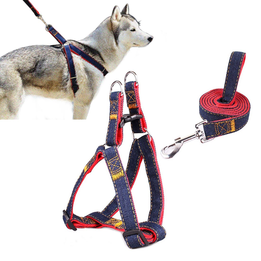 PET harnais% 2CAM que le champ El Jean chien conduit pas-pull chien / chat laisse avec boucles rapides sécurité harnais chien cowboy chaîne sangle pour corde (rouge, M) BUYBOE LEAGUE
