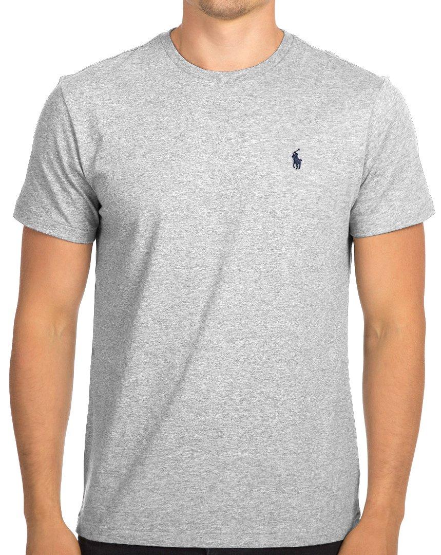 Polo Ralph Lauren Men's Classic Fit Crew-Neck T-Shirt Cotton (Large, Gray (Navy Pony))