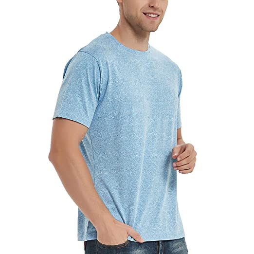 f860210a SAGO Men's Plain Blank T Shirts Casual Fitted Workout Running Short Sleeve Crew  Neck Plus Size
