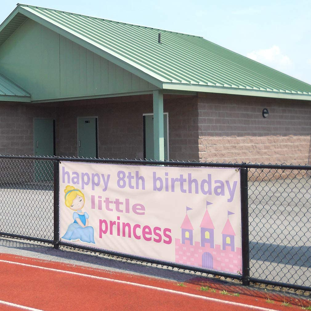 24inx60in Multiple Sizes Available Set of 3 Vinyl Banner Sign Happy 8th Birhday Princess Lifestyle Marketing Advertising Purple 4 Grommets