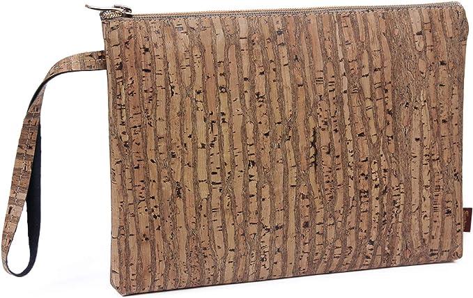 SIMARU Elegante Bolso de Mano hecho de moderno corcho / piel de corcho, bolsa porta-documentos con cremallera de alta calidad, monedero, neceser, cartera tamaño A5 en varios colores Unisex (raizes)