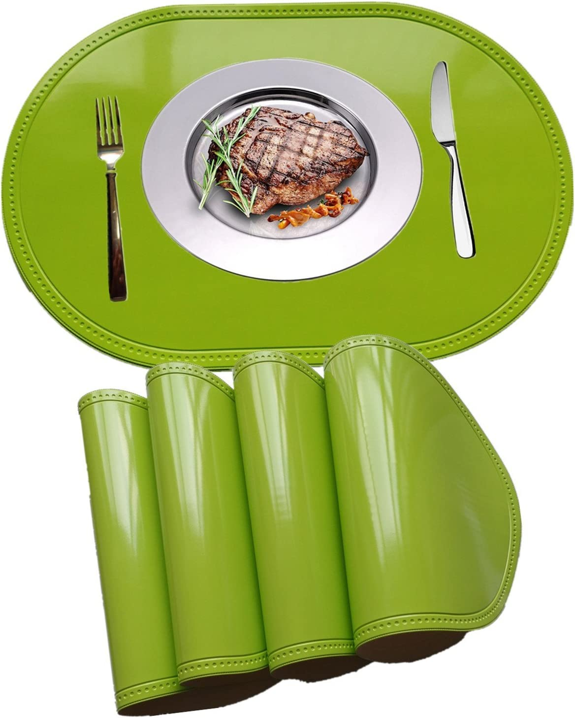 WANGCHAO Placemat, Plastic molding Faux Leather PVC Place mats Oval Smooth placemats Non-Slip Insulation Washable Table Mats (Green, Set of 8)