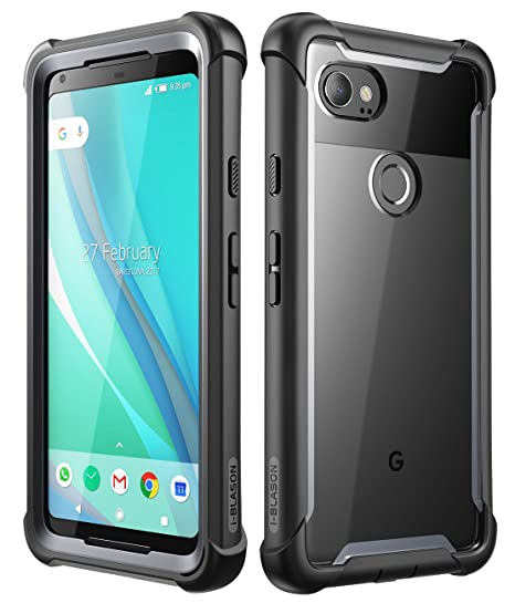 huge discount 230f8 fc140 i-Blason Case for Google Pixel 2 XL 2017 Release, [Ares] Full-Body Rugged  Clear Bumper Case with Built-in Screen Protector(Black)