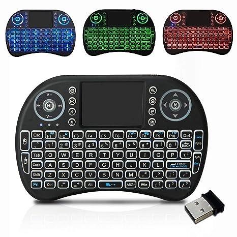 Backlit Mini Teclado Inalámbrico 2.4G, Mando a Distancia de Mano con Touchpad Mouse para