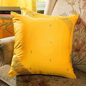 Amazon.com: Amarillo – decorativo hecho a mano Funda de ...