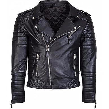 7e33abedf550 Men's Diamond Quilted Kay Michael Soft Leather Black Slim Fit Biker Jacket  (XXS - Jacket