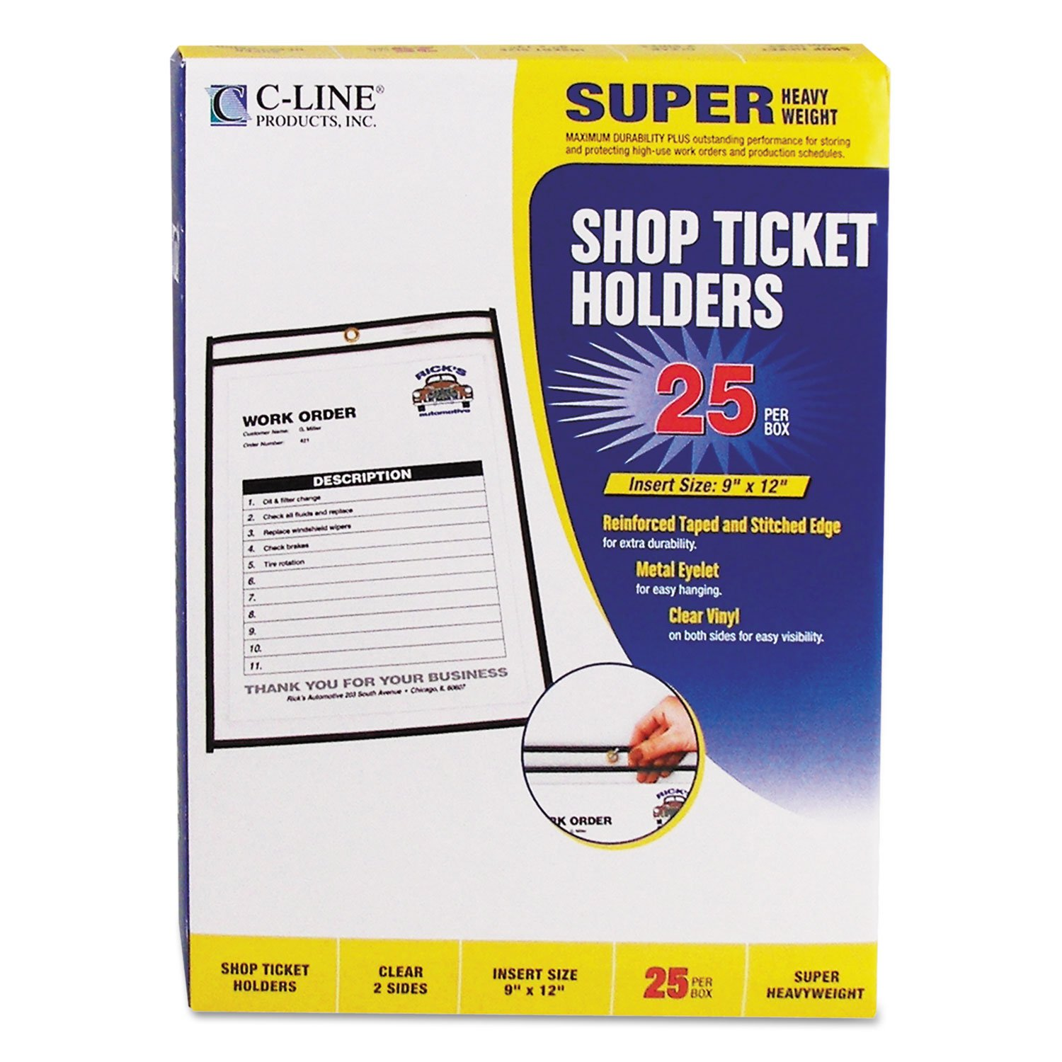 C-Line 46912 Shop Ticket Holders, Stitched, Both Sides Clear, 75-Inch, 9 x 12, 25/BX by CLI46912