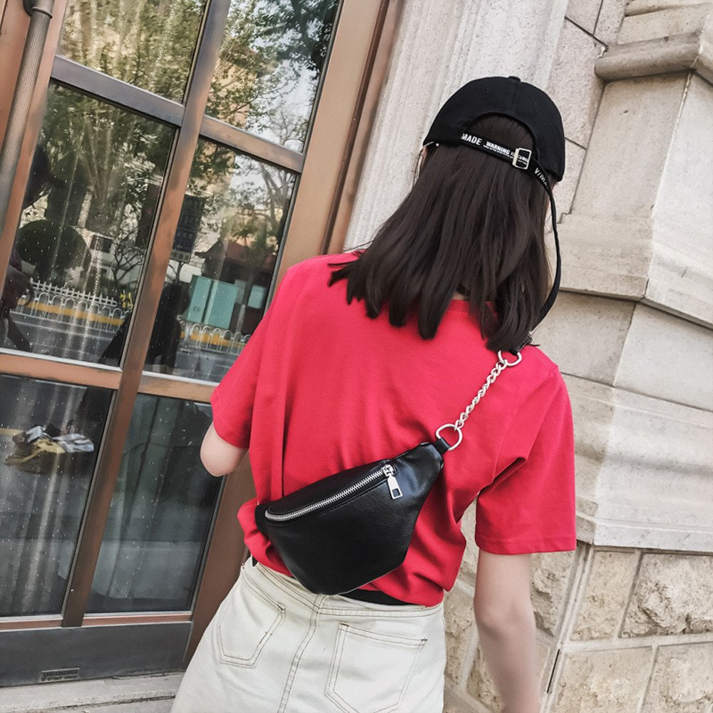 Womens Fanny Pack,Elogoog Leather Shoulder Bag Women Messenger Bag Small Chest Crossbody Bag