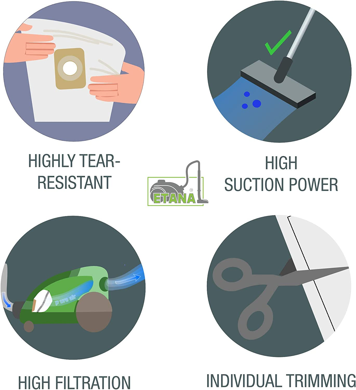 microfiltro Etana Sacchetti per aspirapolvere compatibili con l/'Articolo Hoover Telios Class 1700 I Telios Class 1700 Caresse 10 Sacchetti raccoglipolvere incl