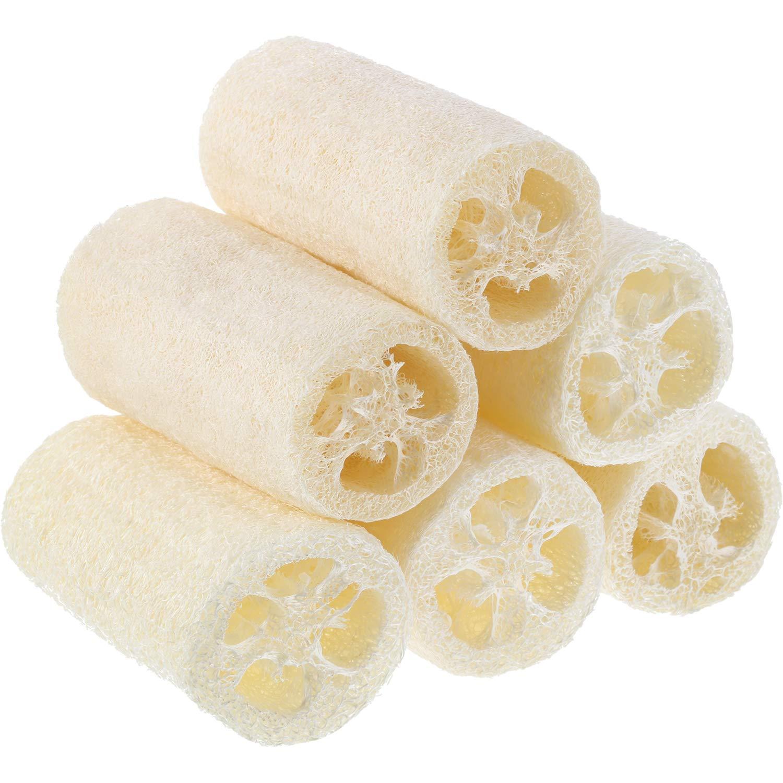 Pangda 6 Pieces 4 Inch Natural Loofah Bath Sponge, Organic Loofah Exfoliating Bath Scrubber, Luffa Body Wash Sponge Remove Dead Skin Made Soap