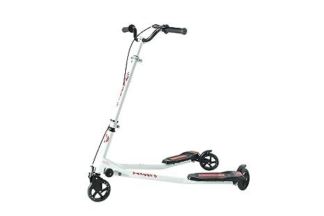 Kidzmotion Swagger 3 ruedas scooter de oscilación del reductor de velocidad vagabundo grande (10-13yr) marco blanco / franja roja