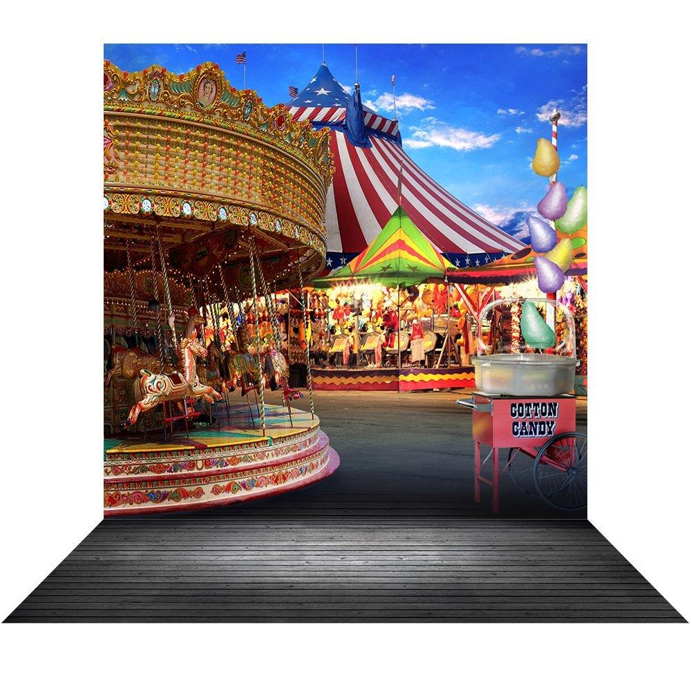写真バックドロップ – Amusement Park Carousel、コットンcandy- 10 x 20シームレスなファブリック   B079XCXPRY