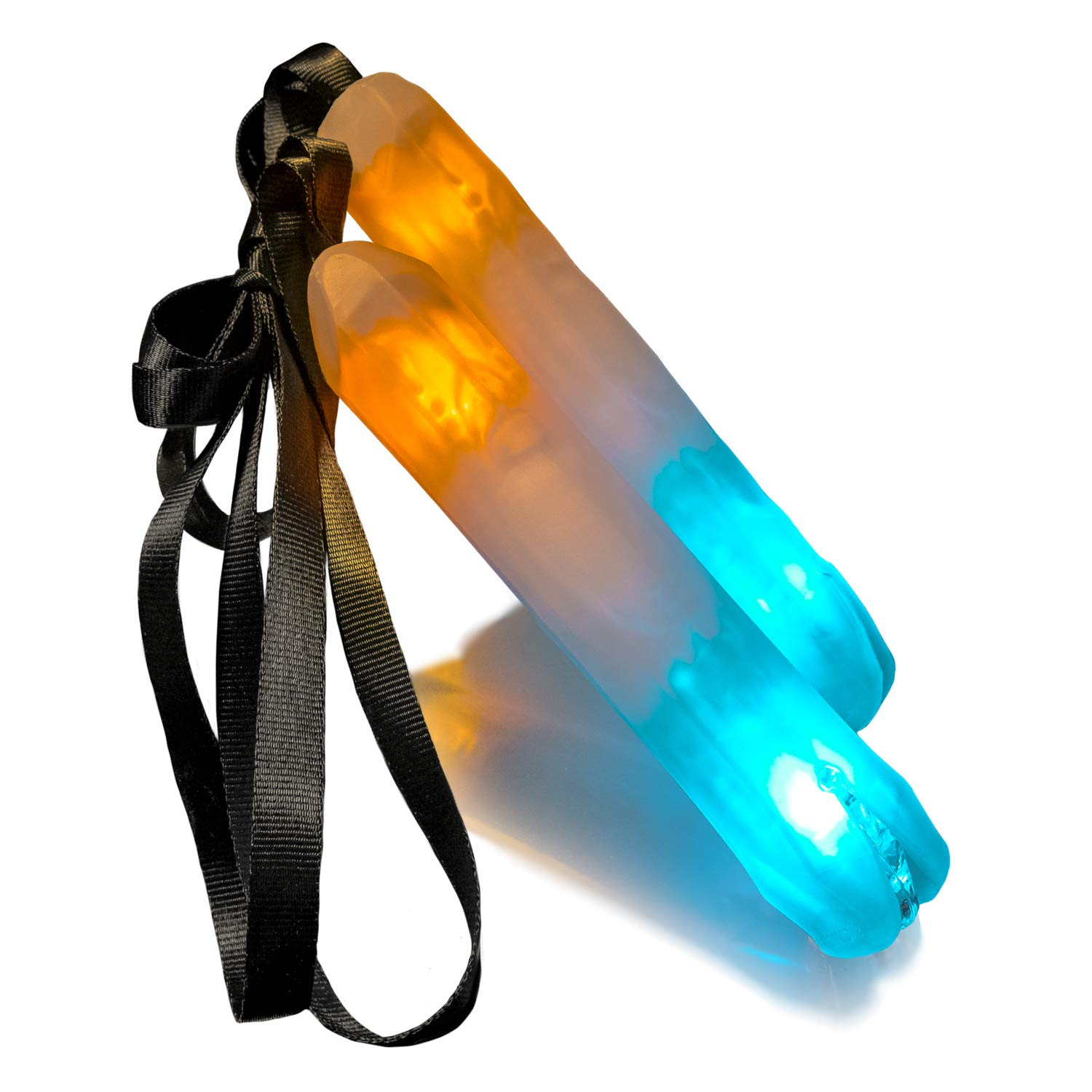 Crystal Poi-FS Lite - Glowstringer LED Light-up Glow Stick Poi for Party, Practice & Flow Arts Play | Batteries & Charger Included