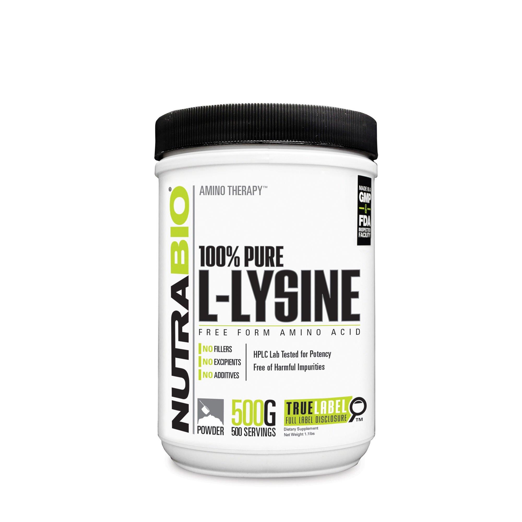 NutraBio 100% Pure L-Lysine Powder - 500 Grams