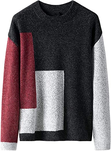Domple Men Plus Size Winter Color Block Round Neck Knit Pullover Sweaters