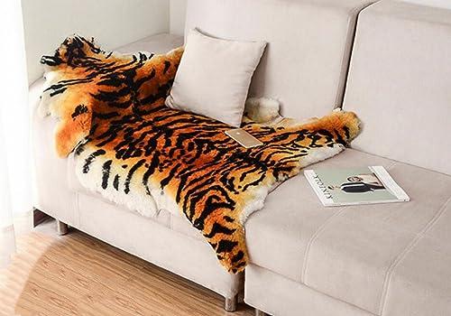 Gracefur Area Rug Tiger and Leopard Skin Printed Decor Rugs Super Soft Real Australia Sheepskin Carpet