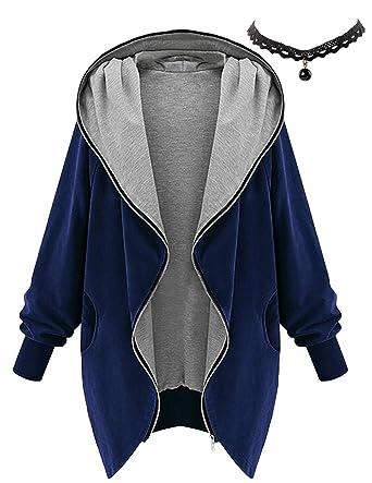 M-Queen Mujeres Abrigo de Manga Larga con Capucha Coat Jacket Chaqueta Gabardina Impermeable (