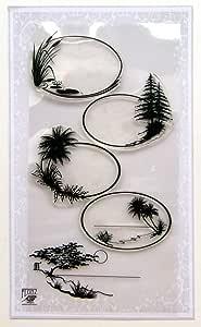 Oval Frames Landscapes Clear Stamps Set