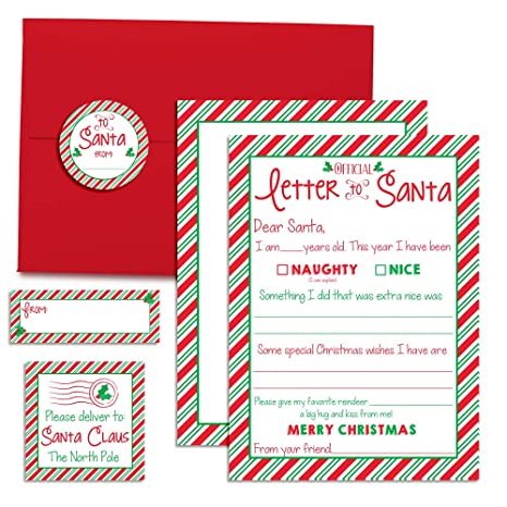 official letter to santa kit 4 5x7 fill in cards with 4