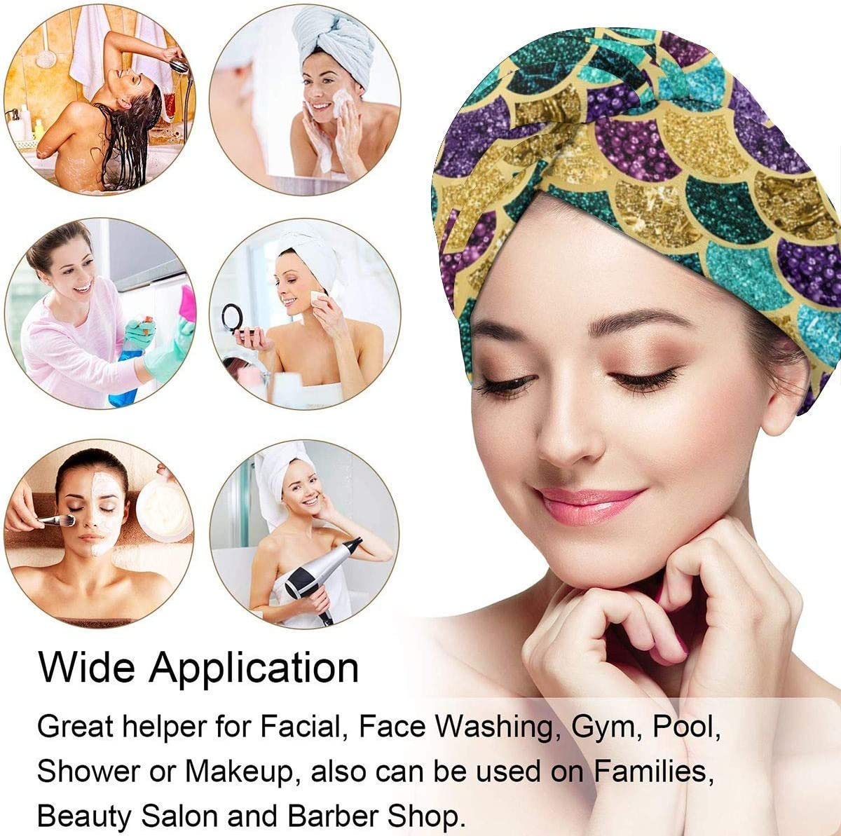Envoltura de la cabeza del ba/ño,Chinese Silk with Golden Dragons and Flowers Quick Dry Hair Towel with Button Hair Dry Towel Hair Towel Wrap Turban Fast Head Towel Fast Drying Bath Shower