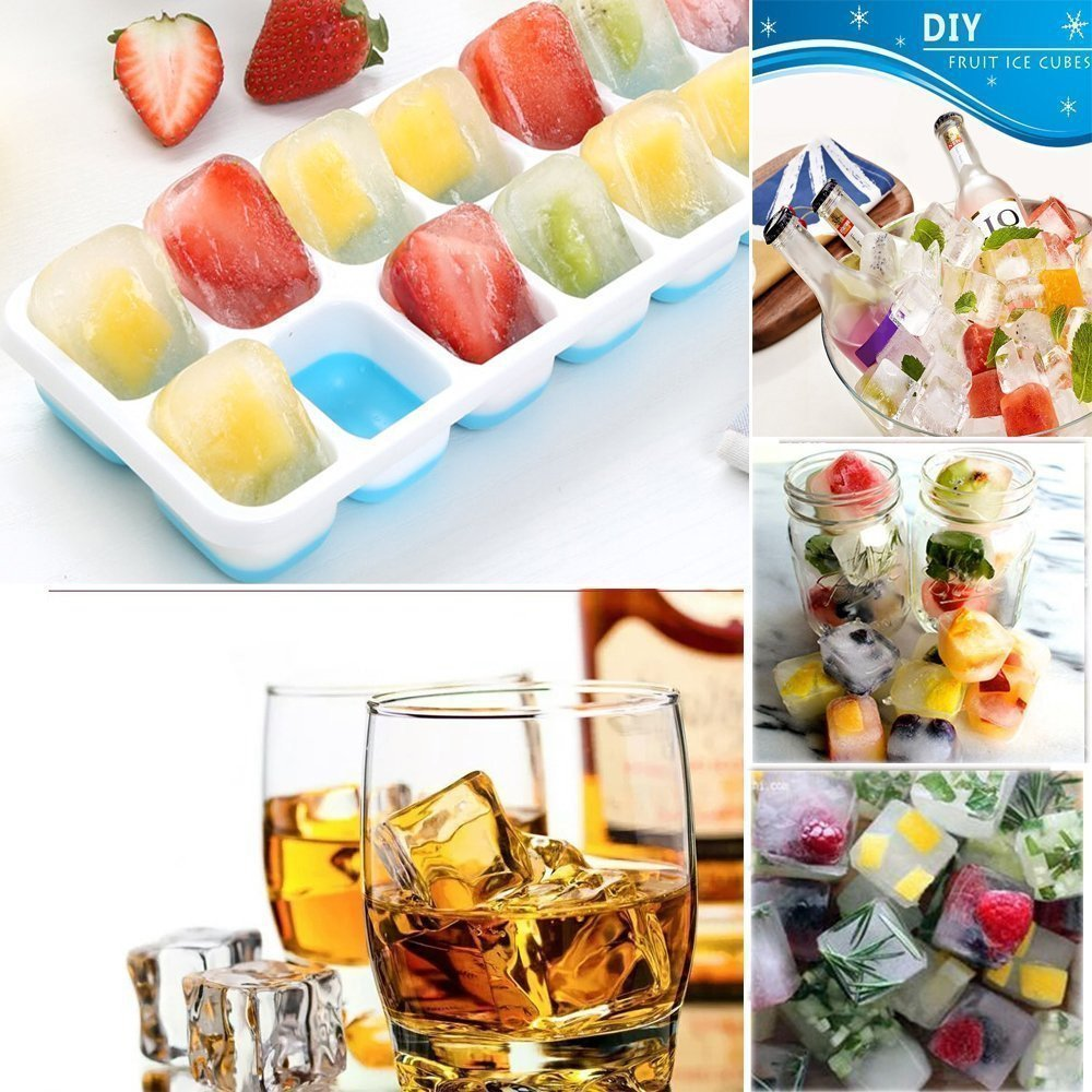 Ice Cube Trays Silicone,Ice Cube Mold Ice Tray Spill Resistant Lids 4 Pack and Flexible Reusable 14-Ice Trays Set with Lid Stackable BPA Free Dishwasher Safe Ice Cube Maker Storage Containers by SBC (Image #6)