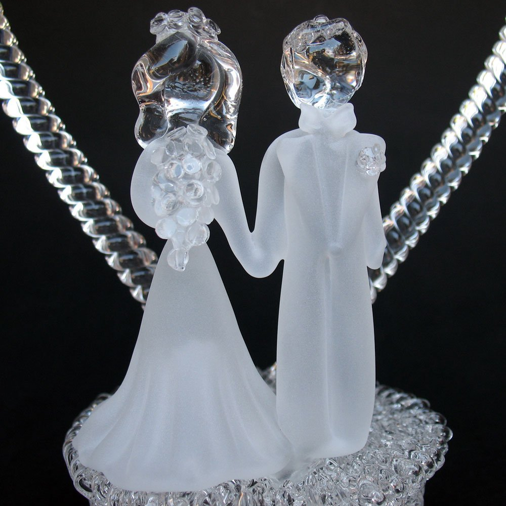 Amazon Bride And Groom Figurine Hand Blown Glass Wedding Cake Topper Kitchen Dining