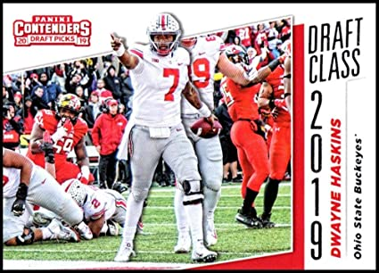 2019 Leaf Draft Gold Football RC Rookie Card #73 Dwayne Haskins Ohio State Buckeyes