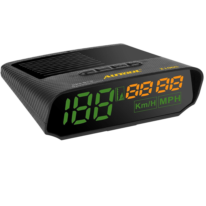 AUTOOL Solar GPS velocí metro mph/KMH con Altitud Sobre la Velocidad de Alarma, USB de Carga Disponible AT-X100S