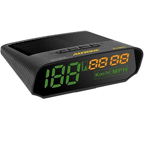 Autool solaire GPS HUD Compteur de vitesse MPH/KMH avec Altitude sur disque alarme de vitesse Distance écran fatigue Alarme de conduite pour tous les véhicules, chargement USB Disponible