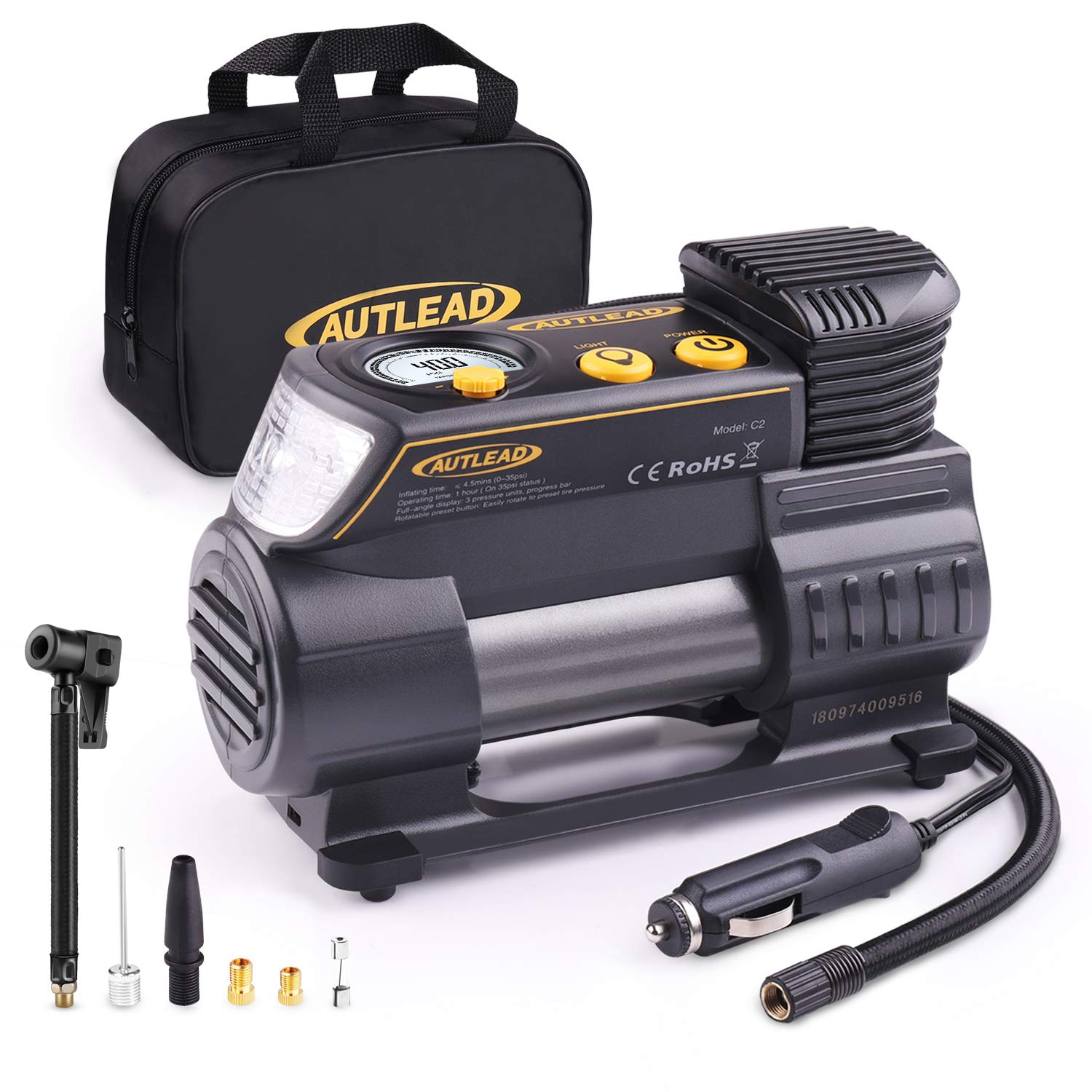 AUTLEAD Tire Inflator, 12V Portable Air Compressor - Compact Auto Tire Pump with Digital Gauge, Emergency Light, Quick Release Chuck, Fast Inflating for Car, Bicycle, Ball, Balloon - C2 by AUTLEAD
