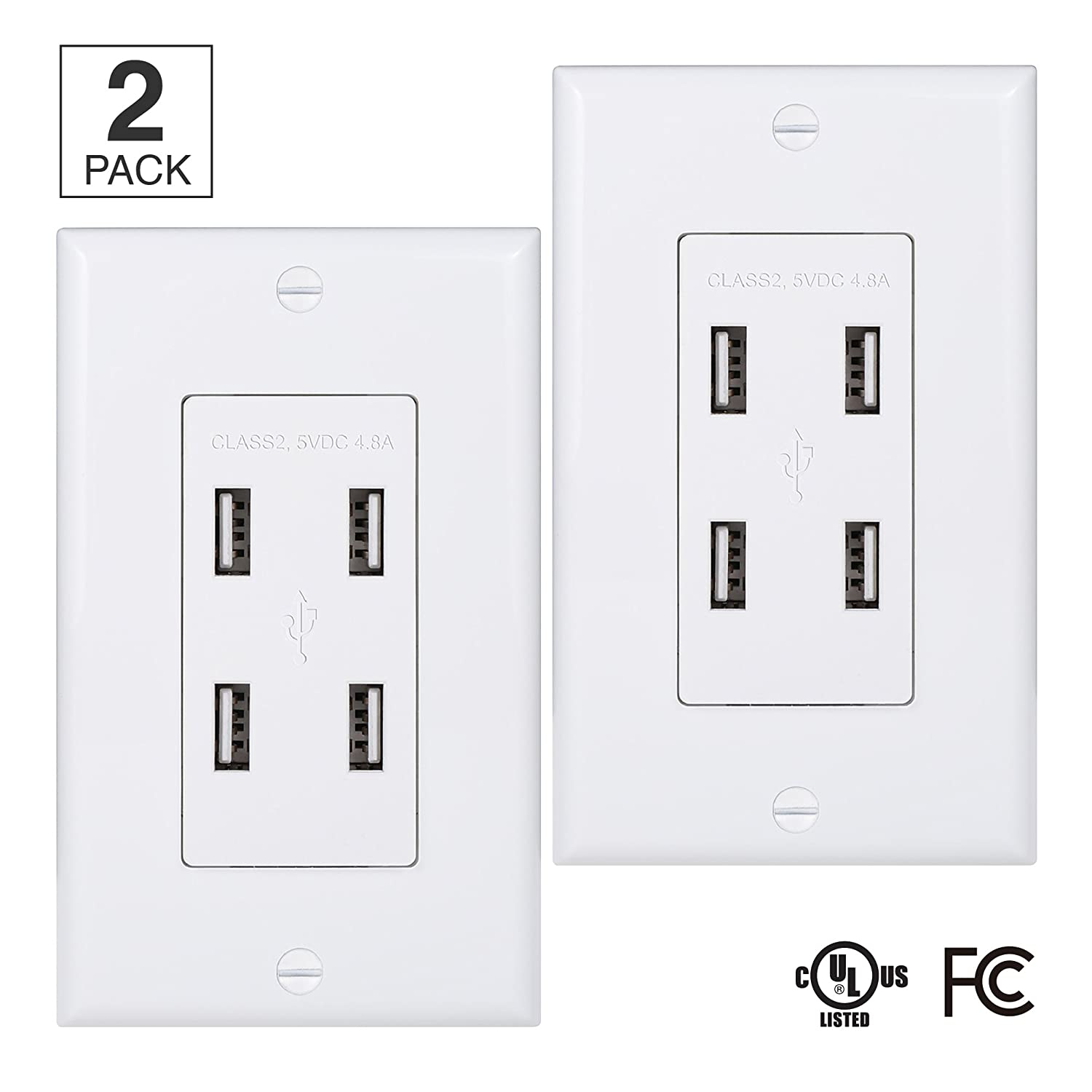 (Pack of 2) 4-Port USB Power Outlet - UL Listed High Speed Dual USB Electrical Wall Outlet - Four 3.1A USB Ports - Wall Plate Included - Fast Charging