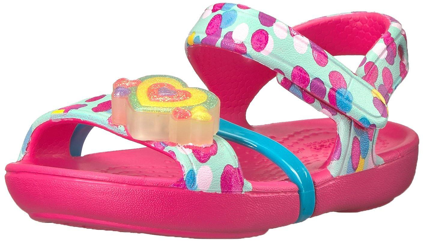 crocs Kinder Lina Lights Sandale, 18 19, Paradise Pink