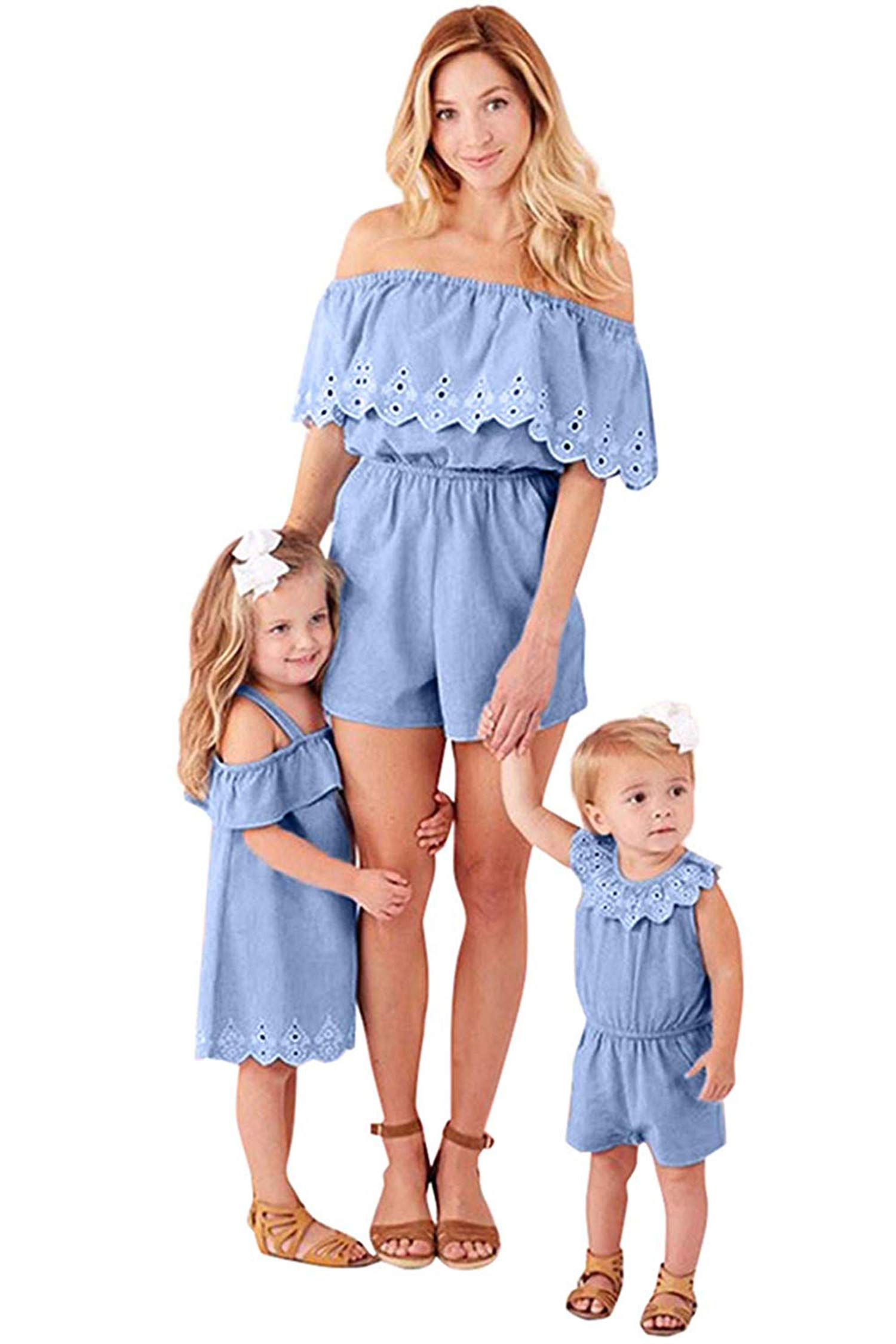 Family Matching Summer Denim Outfits Mommy and Me Off Shoulder Short Sleeve Loose Fit Short Romper Dress (Blue, Mom S) by doublebabyjoy