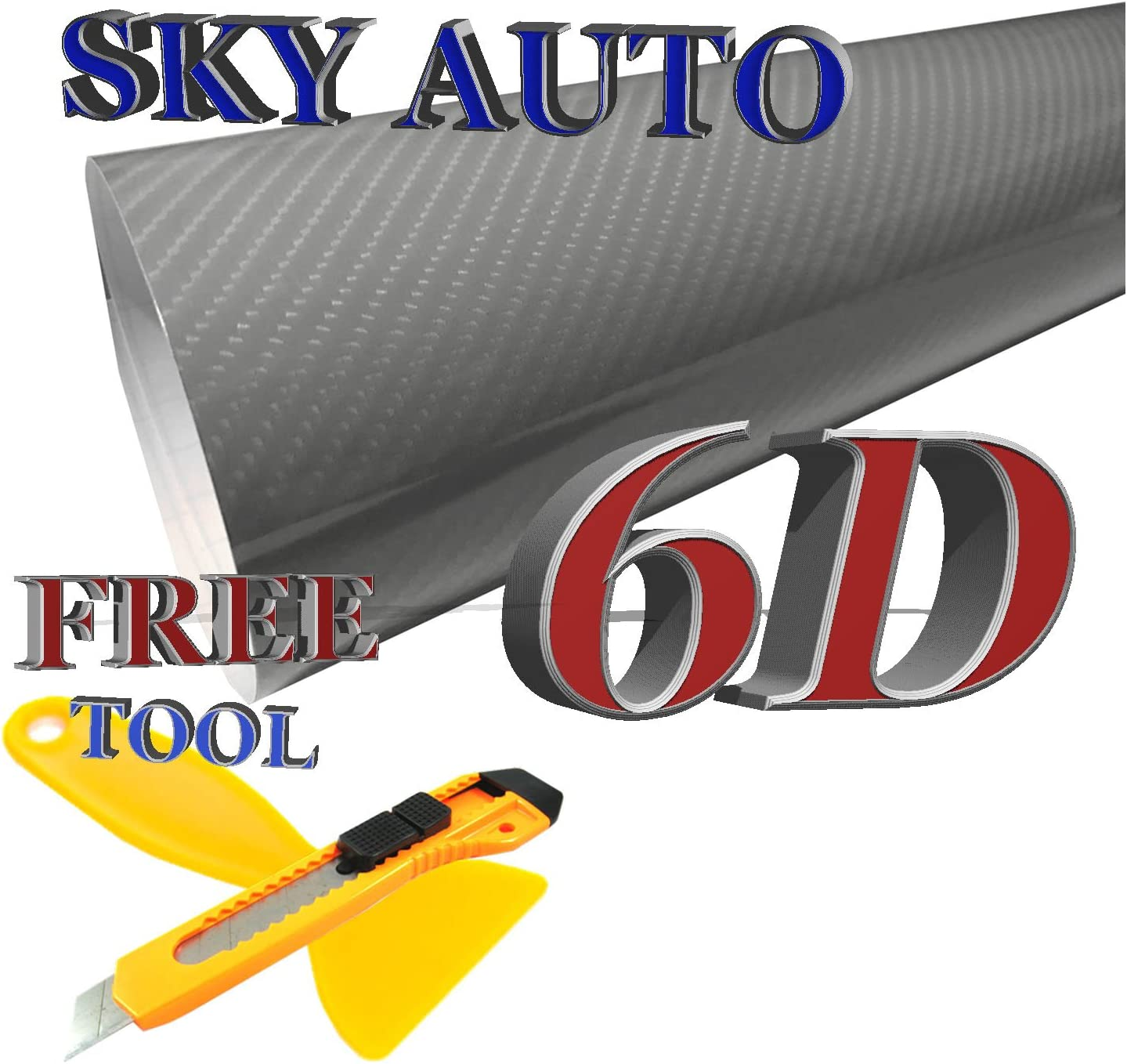 Sky Auto INC 7ft X 5ft 6D Silver Gray Glossy Carbon Fiber Vinyl Wrap Sheet with Air Release