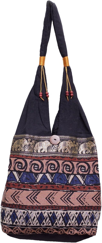 BTP Hippie Hobo Thai Cotton Shoulder Bag Elephant Parade Mosaic DA3