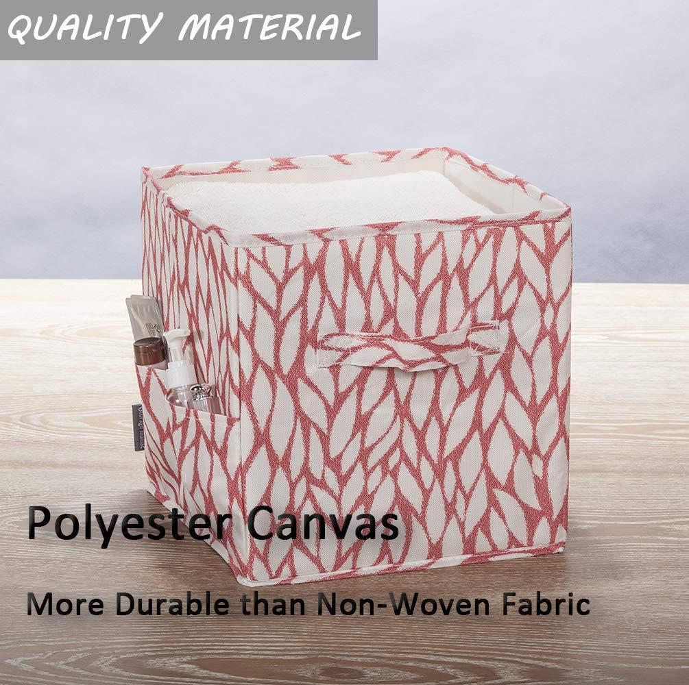 Orange Leaf Polyester Canvas STORAGE MANIAC 6-Pack Foldable Storage Cubes Basket Bins with Side Pockets Full Coroplast Storage Organizer Drawers