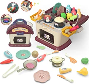 Binken Kids Play Kitchen Picnic Playset Portable Picnic Basket Toys with Musics & Lights Color Changing Play Food Kitchen Realistic Fog Toys and Pretend Play Oven Kitchen Toys Sets Gift for girls boys