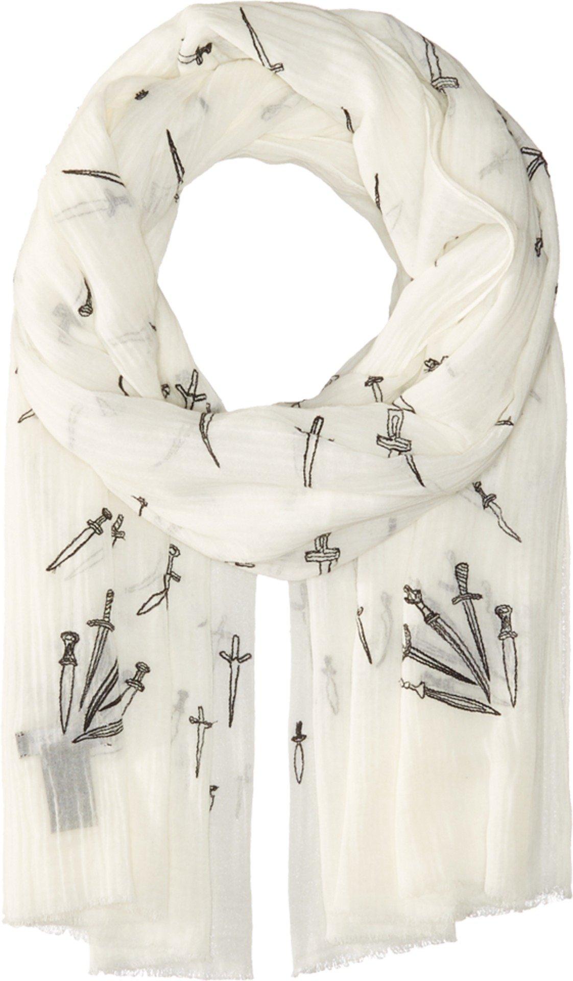 rag & bone Women's Embroidered Dagger Scarf White Multi One Size