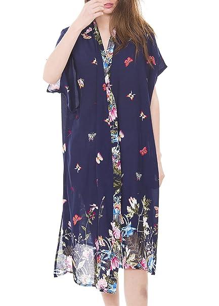 2cef265d901a9 MIRMARU Women s Summer Floral Bikini Kimono Beachwear Swimsuit Cover up  Cardigan Top(913-Navy