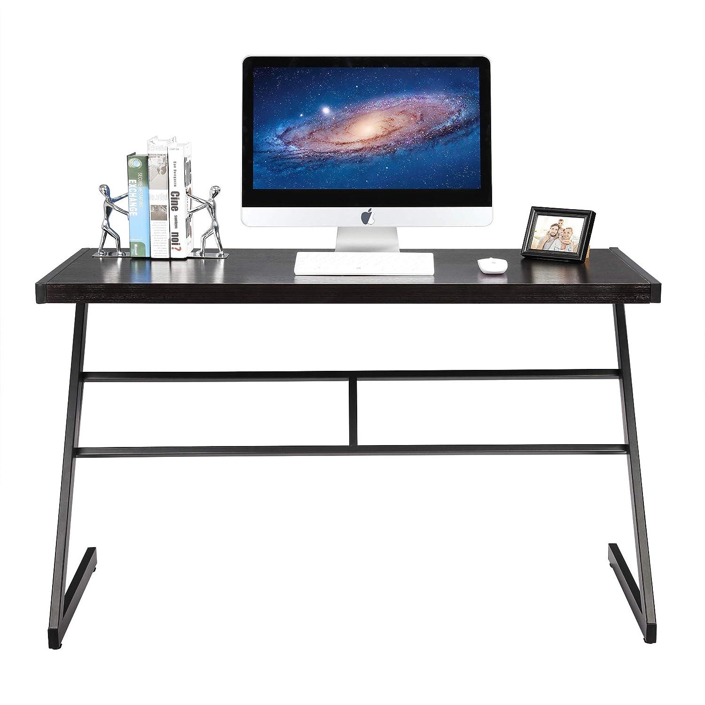 FIVEGIVEN Computer Gaming Desk Table Brownish Black Modern Industrial Simple Z Shaped Desk, 48 Inch