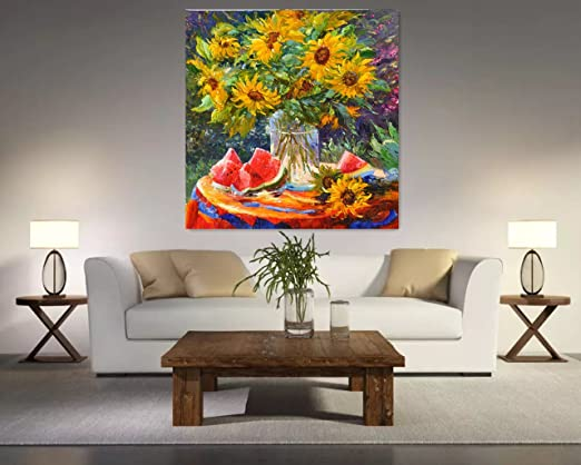 Real Hand Painted Sunflowers Oil Paintings On Canvas,Oil Paintings of Sunflowers 30x40 Inches (UnStretch / No Frame) Flowers Wall Art Modern Abstract Artwork Decor Pictures Home Decoration